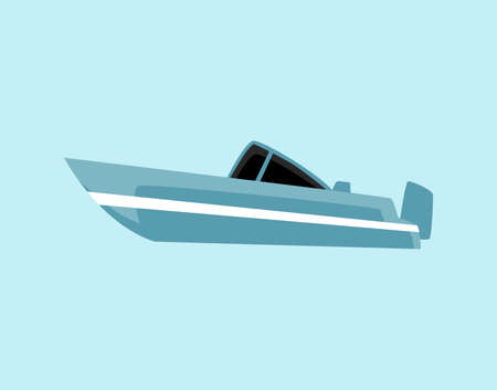 Blue flat motor boat - isolated cartoon motorboat type water transport. Side view of small modern speedboat yacht, vector illustration.