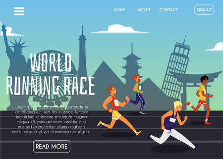 World running race website banner with cartoon runners jogging on famous landmark buildings background. International sport competition homepage - flat vector illustration.