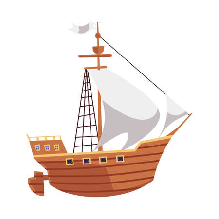 Cartoon wooden ship for sea travel with white sails and flag. Vintage corsair type boat isolated on white background - antique water transport vector illustration.
