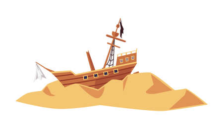 Old wrecked pirate sea ship or sailboat on desert island, flat vector illustration isolated on white background. Vintage crashed vessel with mast and torn sails.