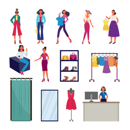 Fashion show and clothes shopping set - cartoon model women in trendy clothing, retail store equipment and staff. Flat isolated vector illustration.