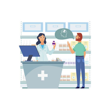 Woman doctor and pharmacist with man client in the pharmacy, isolated flat vector illustration. Ilustracja