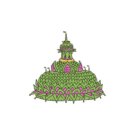 Symbol Asian Thai Loy Krathong festival, festive green float with a candle and light, isolated flat vector illustration. 向量圖像