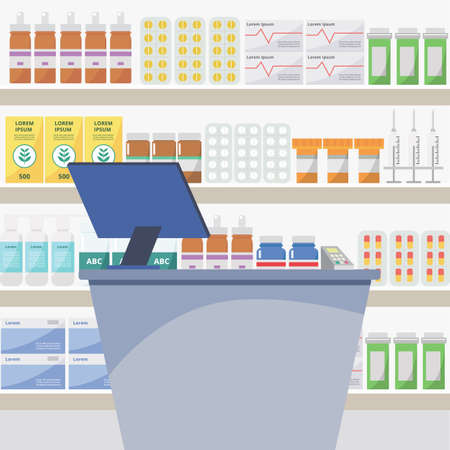 Pharmacy and drugstore counter with table and computer, shelves with medicines, tablets and pills. Health and medicine concept, shop and store with pills. Flat vector illustration of pharmacy.