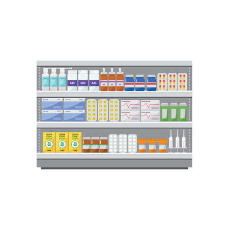 Shelves with medicines, pills and tablets in a pharmacy, a drugstore and medical store o shop. Isolated flat vector iilustration of a drugstore.