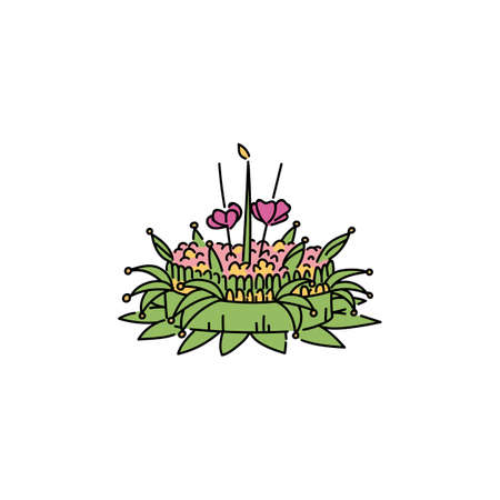 A festive float of green plants and flowers with light for water and a river. Symbol of Thai and Asian holiday Loy Krathong. Isolated vector illustration for the holiday Loy Krathong in a flat style.
