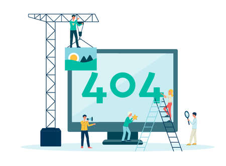 Error 404 web page not found, information and warning on monitor screen. Breakdown concept in computer with team of people, repair and ladder. Isolated flat cartoon 404 error page vector illustration