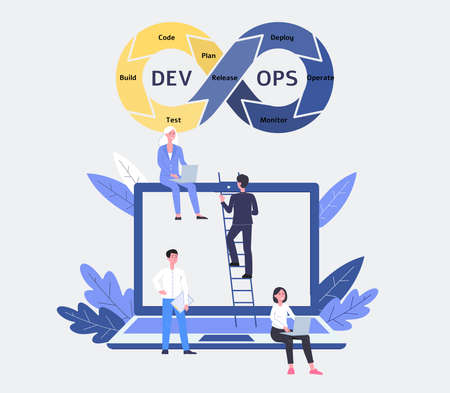 DevOps software and development operations team with woman and man programmer, developer and coder with laptop and stairs. Flat cartoon devops vector illustration with people and teamwork.