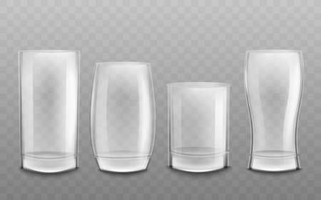 Set of empty and blank different glass goblets and cups. Empty clean glass cups for drinks and alcohol, liquids and water. Realistic vector illustration on a transparent background. Illusztráció