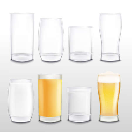 Realistic glass cup set empty and full of beer and milk, different shapes and sizes of drink containers with white and yellow beverages - isolated vector illustration Illusztráció