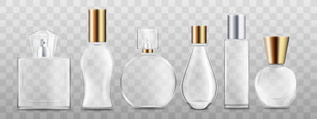Realistic perfume bottle set isolated on transparent background, glass fragrance spray containers with different shapes - round, square, rectangle and curvy. Vector illustration.