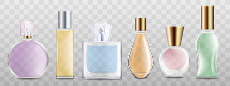 Set of perfume glass bottles of different colors 3d realistic vector illustration mockup isolated on transparent background. Aroma spray cosmetic containers template. Illusztráció