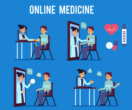 Set of the doctor and the patients online medical, clinic and hospital. Online consultation on medical health. Flat vector illustration of online medicine on blue background.