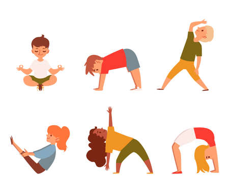 Kids doing yoga - isolated cartoon character set. Happy children in fitness exercise poses - hand drawn boys and girls stretching, meditating and doing sport - flat vector illustration Illustration