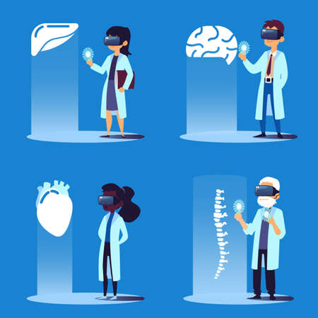 Set of scientists or doctors cartoon characters using virtual reality technology to create human organ implants, flat vector illustration isolated on the blue background.