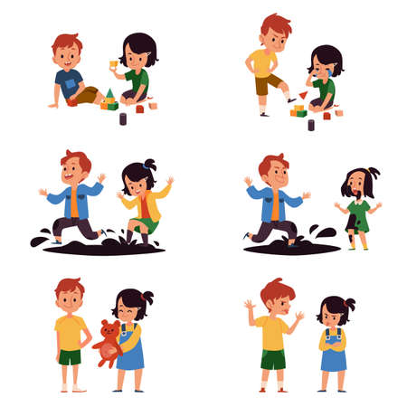 Boy and girl with good and bad behavior, comparison of kids playing together peacefully and having a conflict. Children playing and fighting - isolated flat cartoon vector illustration.