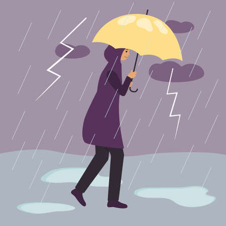 A woman in a raincoat walks under a yellow umbrella during a thunderstorm and rain with lightning. Girl and bad weather. Flat vector illustration with girl and thunderstorm.
