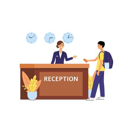 Girl or woman receptionist stands at a desk in the hotel lobby and receives a tourist man with a backpack. Business concept woman receptionist services. Isolated flat cartoon vector illustration.