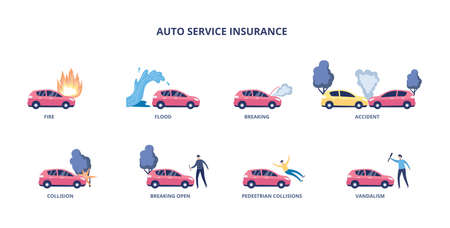 Set of auto insurance cases or actuarial reasons for money compensation, flat vector illustration isolated on white background. Banner depicting car insurance types.