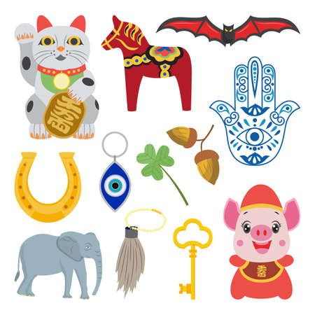 Good luck fortune symbol set - cartoon amulet, talisman and lucky charm collection from different cultures and religions. Isolated vector illustration of traditional decorations. Vektorové ilustrace