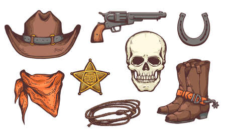 Wild West symbol set - cowboy hat, boots and bandana, gun and skull and other western style object drawing collection, isolated vector illustration.