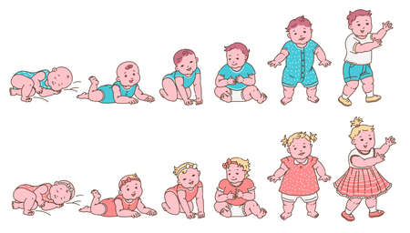 Set of baby growth and development stages from newborn to toddler with boy and girl character up to first year age, sketch vector illustration isolated on white background.
