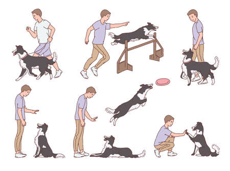Set of dog training or obedience education scenes with cartoon characters of man commands his dog, sketch vector illustration isolated on white background.