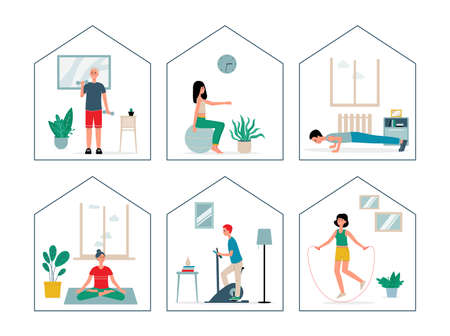 People in quarantine or spending weekends at home. Girls and boys play sports at home in self-isolation. Active lifestyle. A set of vector flat illustrations for your design. Vektorgrafik