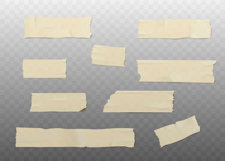Set of beige adhesive or masking tape pieces with torn edges realistic style, vector illustration isolated on transparent background. Various strips of brown ripped sticky tape Vectores