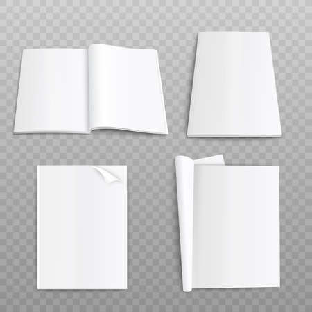 Realistic paper magazine mockup with open and closed blank pages isolated on transparent background. Empty catalogue or book template - vector illustration