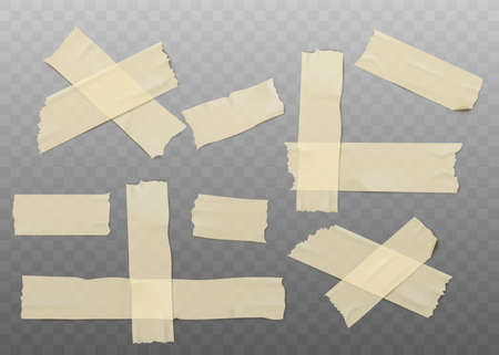 Detailed adhesive or masking tape set torn pieces for fixing notes flat vector 3d realistic illustration isolated on transparent background. Sticky ripped ribbon. Foto de archivo
