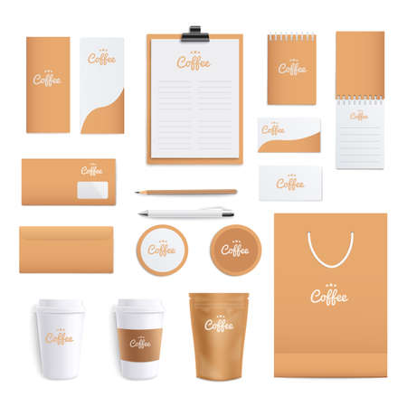 Coffee themed corporate identity stationery layout, set of realistic mockups for branding - notebook, envelope, cup, coasters, bag, etc., templates vector illustration isolated on white background