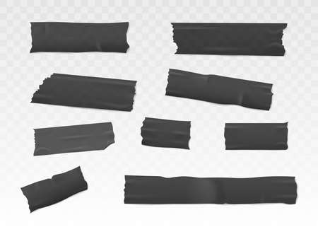 Black adhesive or insulation tape set torn pieces for fixing notes flat vector 3d realistic illustration isolated on transparent background. Sticky ripped ribbon. Vectores