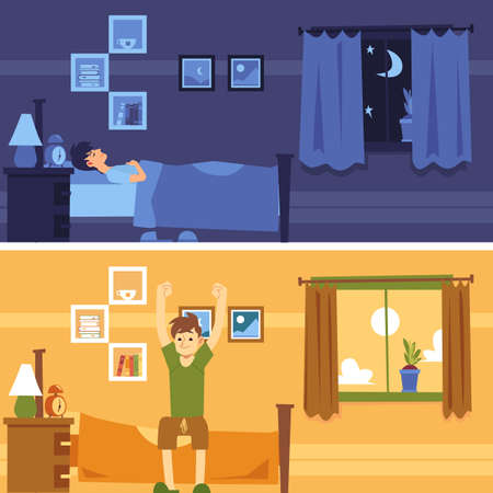 Man sleeps in bedroom at night and wakes up in morning flat cartoon style, vector illustration on interior background. Banners of male lies in bed and sits stretching with arms raised up
