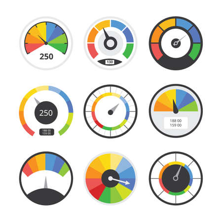 Speedometer set - speed measurement indicator tool collection with colorful panels and pointer arrows. Flat vector illustration isolated on white background.