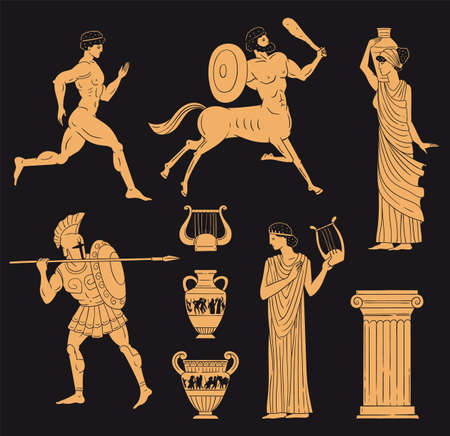 Ancient greece golden figures set in terracotta pottery style, vector illustration isolated on black background. Mythological gods, warriors and centaurs collection. 矢量图像