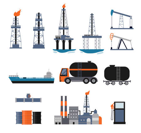 Set of oil industry facilities and machinery, flat cartoon vector illustration isolated on white background. Fuel production and oil refining icons collection. Stock Illustratie