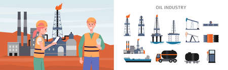 Banner and infographic elements set for oil production and petroleum extraction industry, flat vector illustration. Fuel refining and drilling technology.