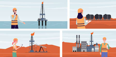 Set of oil production and gas refining backgrounds with drilling machinery and transport, flat cartoon vector illustration. Industrial landscapes with working people. Stock Illustratie