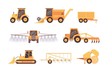 Farmer agricultural vehicles and machinery icons set, flat vector illustration isolated on white background. Food production and industrial plants growing transport.