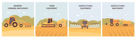 Agricultural machinery poster set - farm agriculture equipment on crop field. Farming tractor, hay roller, plough and harvester working on soil - vector illustration.