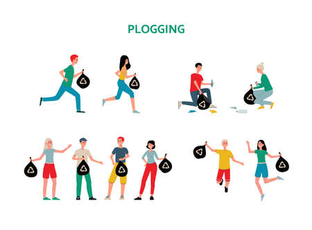Plogging ecological public initiative for clean nature environment from garbage - people characters and icons set, flat vector illustration isolated on white background.