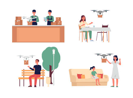 Drone delivery service set - cartoon people shipping cardboard packages with flying remote control quadcopters and customers receiving orders. Flat isolated vector illustration.