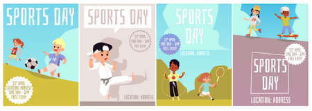 A set of posters with space for text for sporting events. Sports day for children-football basketball martial arts skipping tennis, roller skating skateboarding. Vector flat illustrations
