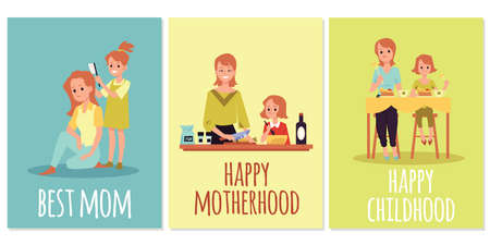 Set of greeting cards for best mom in Mothers day with cartoon characters of woman and her daughter, flat vector illustration. Bundle of posters on motherhood topic.