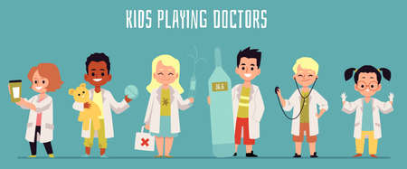 Kids playing doctors with medical equipment and white coat uniform - cartoon banner with cute children dressed in nurse and medic costumes, vector illustration