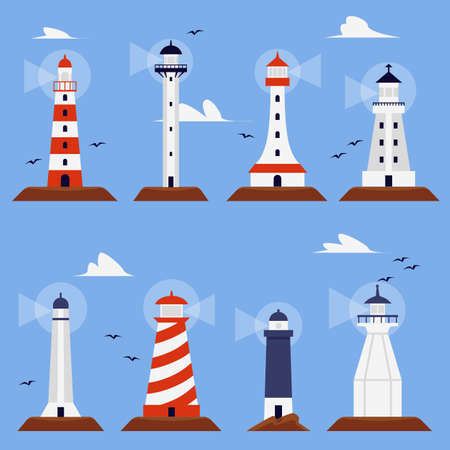 Set of marine beacon or lighthouse buildings in various shapes, flat vector illustration isolated on blue background. Sea navigation lighthouse towers collection.