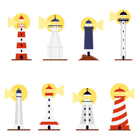 Set of cartoon lighthouses with turned on searchlights, flat vector illustration isolated on white background. Cartoon icons of sea beacons towers or buildings.