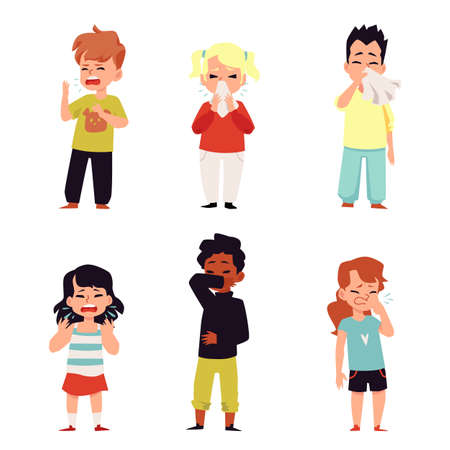 Children sneezing - isolated set of cartoon kids coughing and wiping sneeze snot from nose with hand or napkin tissue. Vector illustration of sick preschool boys and girls. Vektorgrafik
