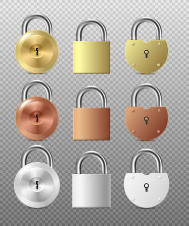 Template of padlocks or hanging door locks in various shapes and colors, 3d realistic vector illustration isolated on background. Safety and private security symbol.